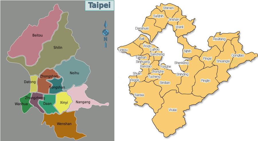 Map of Taipei/New Taipei City