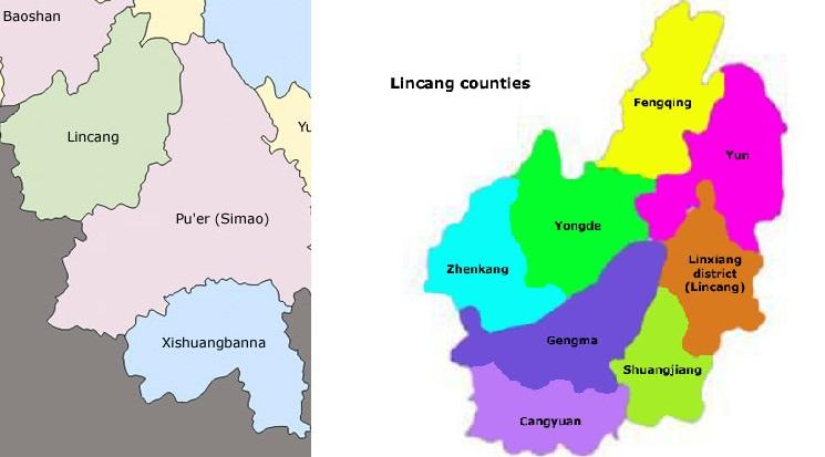 Yunnan, Lincang Map