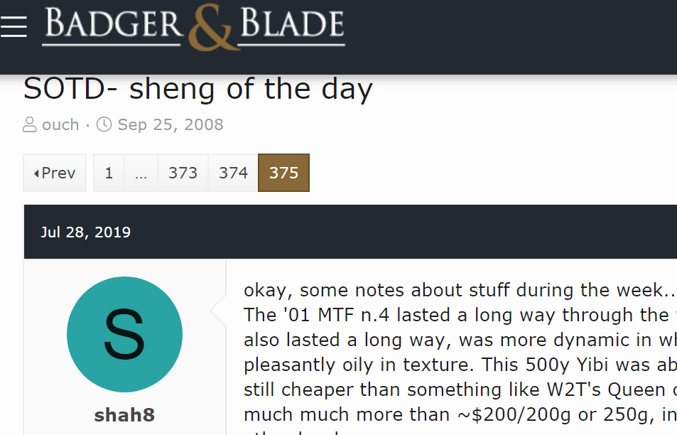 Badger and Blade Sheng of the Day
